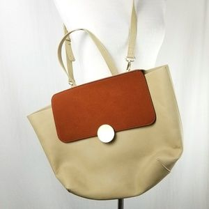 Who What Wear Tan Brown Shoulder Bag Tote Large